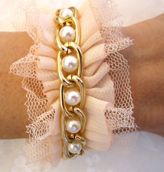 Pearl Bridesmaid Bracelet / Bridesmaid Cuff With Ruffles and Gold Chain - Choose Your Color - Petal Pink, Black, Eggshell White, or Ivory