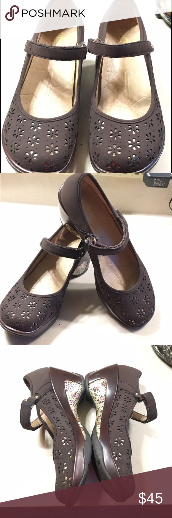 Very cute J-41 shoes Cute J-41 shoes are brown with flower cut outs. Size 8.5. (But fit like an 8) Worn only a couple times. Excellent condition! J-41 Shoes Mules & Clogs