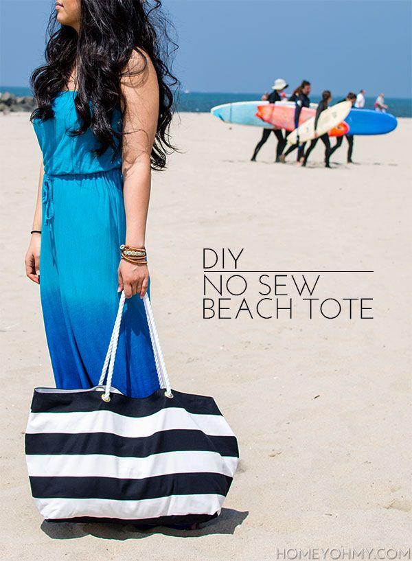No Sew Beach ToteDiy No Sew Beach Bag, Sewing Beach Bag, Sewing Projects, No Sewing Beach, Sewing Totes Bags, Sewing Machine, Sewing Bags, Diy Beach Bags, Beach Totes Bags