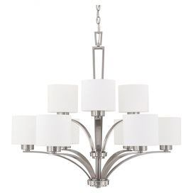 "Illuminate your foyer or dining room in chic style with this eye-catching chandelier, showcasing a sleek design and brushed nickel finish. Product: ChandelierConstruction Material: SteelColor: Brushed nickelFeatures: 120 VoltsAccommodates: (9) 60 Watt medium base bulbs - not includedDimensions: 29.75"" H x 32.5"" Diameter"