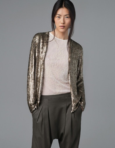 PRINTED SEQUINNED CARDIGAN - ZARASequins Cardigans, Sheer Tops, Trousers Women, Saia Mini-Sequins, Long Sleeve Tops, Zara United States, Harem Pants, United Kingdom, Sequins Jackets