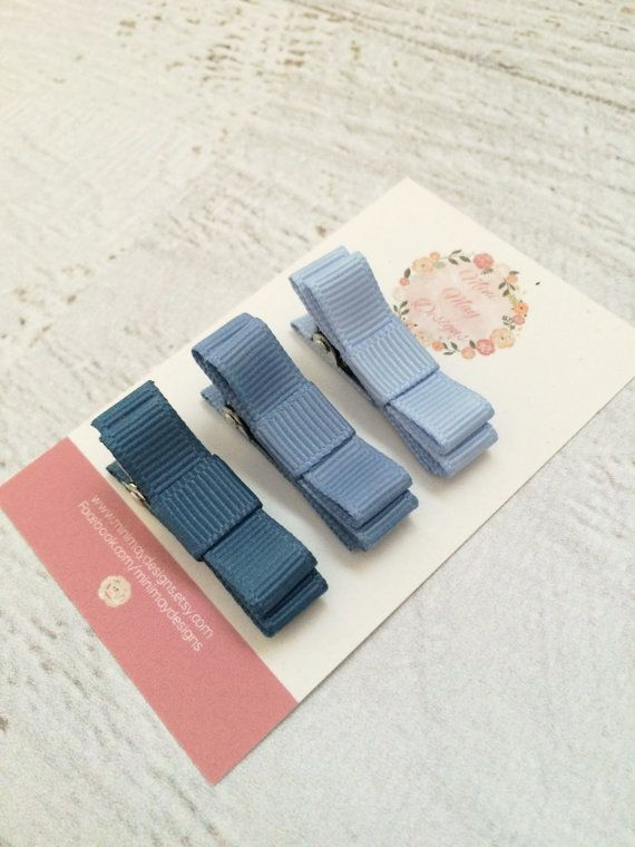 Girl's Hair Bows  Blue Hair Bows  Ribbon Hair by MiniMayDesigns