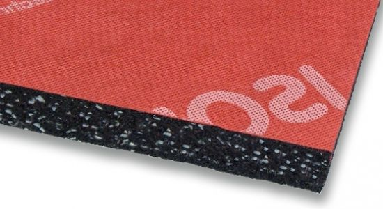 Material made of SBR and EPDM rubber fibres and granules bonded with polyurethane glues and anchored to a ripstop and waterproof non-woven fabric support. It is used as insulator against noise pollution from vibration and re-radiated from the noise of machines and presses in industry and building sectors.
