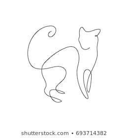One line design silhouette of wild cat.hand drawn minimalism style.vector illust… – Margarete Pieper