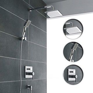 Wall Mount Contemporary Chrome Shower Faucet Set - contemporary - bathroom faucets - by easydo