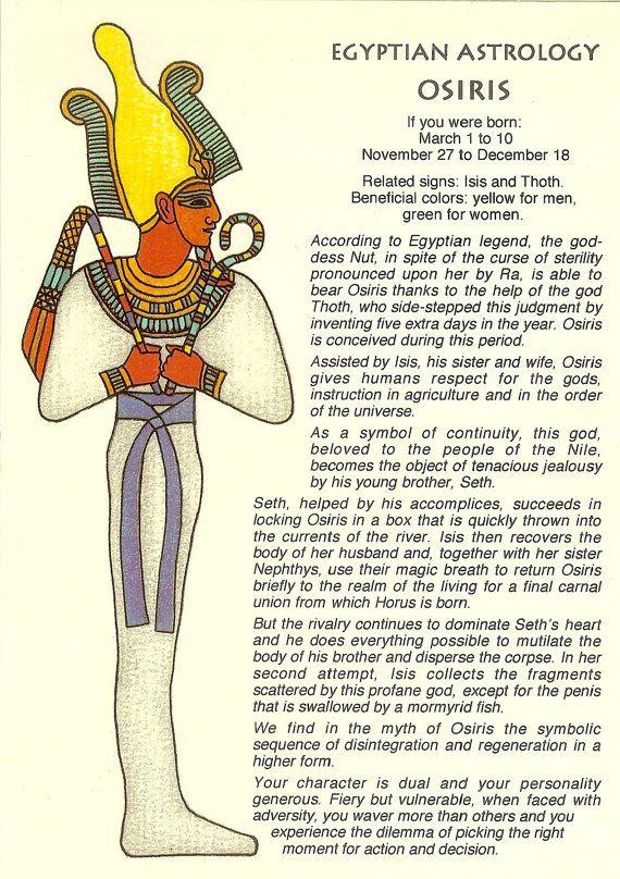 vintage egyptian astrology postcard  osiris  from zodiac