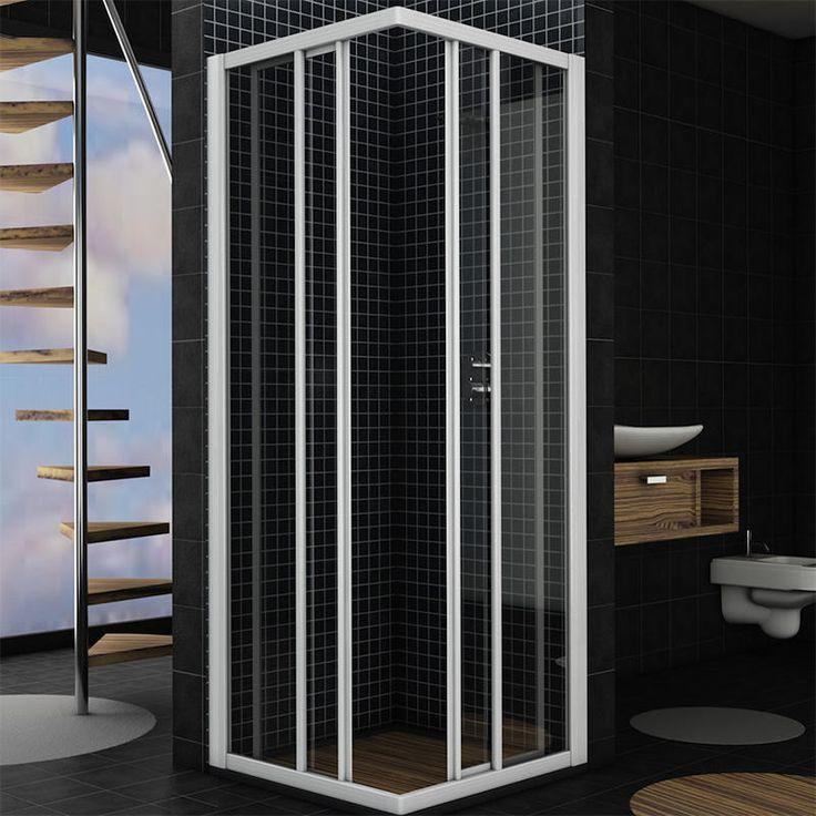 Box doccia ad angolo cristallo temperato da 4 mm profilo in alluminio