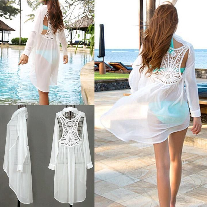 Sexy Women Lace Crochet Hollow Bikini Cover Up Long Sleeve Beach Dress Swimwear #Unbranded #CoverUp