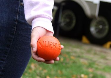 A Murble is an over-sized marble used in the outdoor sports game called Murbles