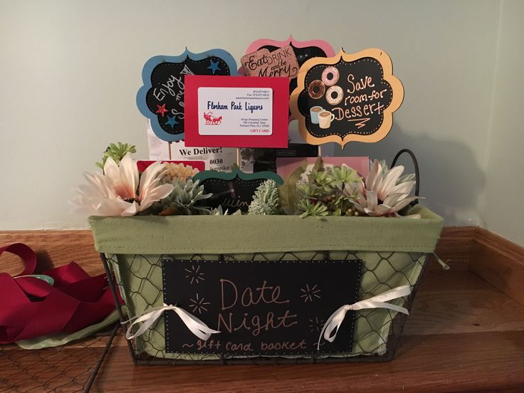 Tricky tray basket. Cute idea for a date night with dinner, movie, desert, and liquor store gift cards