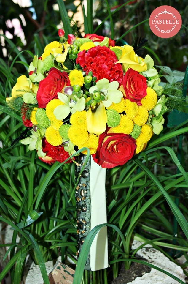 colorful wedding bouquets - santini, roses, orchids