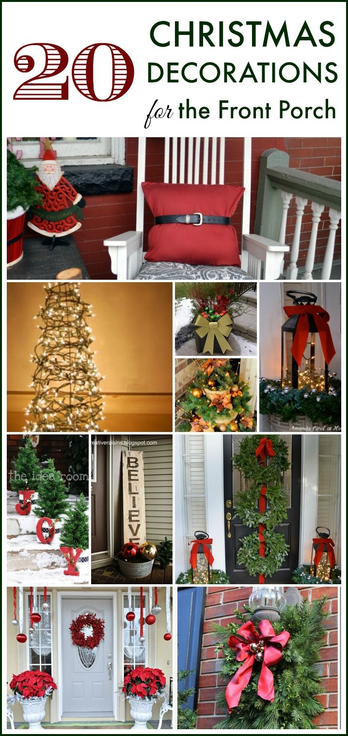 20 Wonderful Ways to Decorate Your Front Porch for Christmas -- Tomato cage Christmas tree? Hanging wreaths on windows? Pallet Christmas trees? Yes! I've rounded up tons of great ideas for decorating your front porch Thanksgiving weekend!