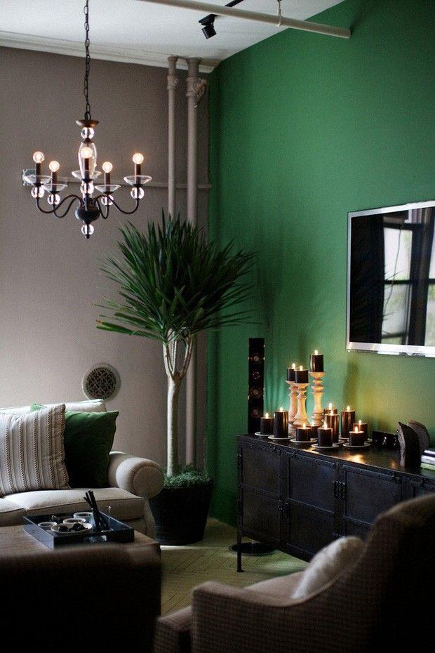 Décor do dia: parede verde na sala