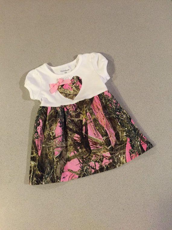 Infant baby Pink camo Dress by SewAdorableHandmade on Etsy