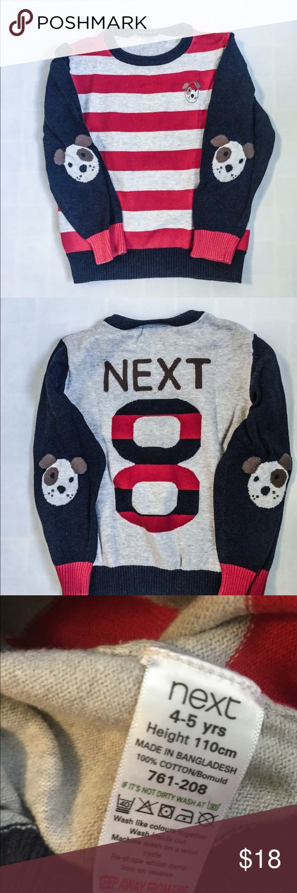 Boys Crewneck striped Sweater w. appliqué sleeves Adorable soft itch free  crew neck 100% cotton sweater with dog appliqué patch on each side. Front is tan and white striped, back has a company logo and #8. Boys size 4-5. Shirts & Tops Sweaters