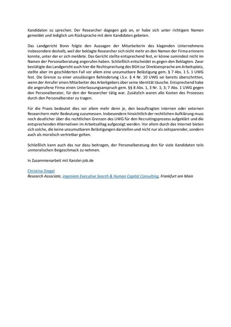 Rechtliche Grenzen der Direktansprache am Arbeitsplatz für Personalberater - Teil 2  mehr unter www.kanzlei-job.de und blog.kanzlei-job.de