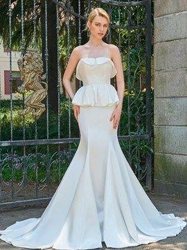 Strapless Mermaid Lace Sleeveless Wedding Dress