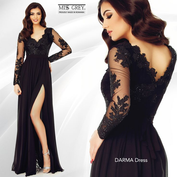 Black dress always in style! Black Darma Dress is perfect for any event due to the combination of veil and embroidered sequin lace.