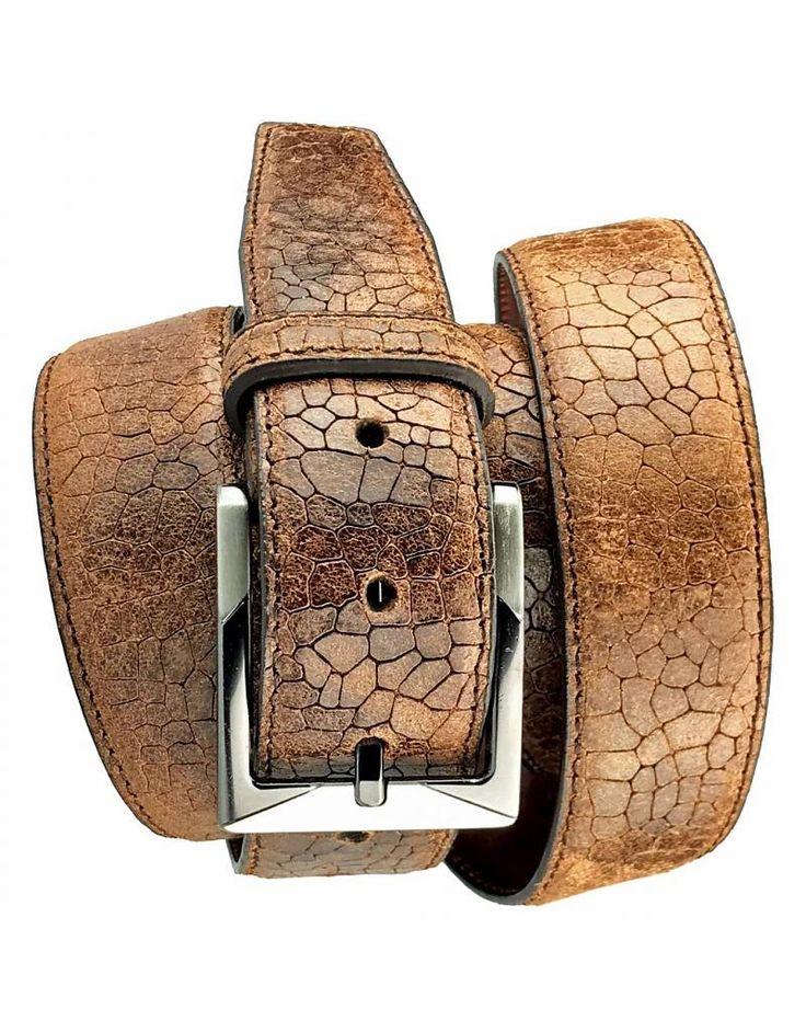 Wilskin Luxe Leren Kostuum Riem Slang Bruin - Barneys Leather