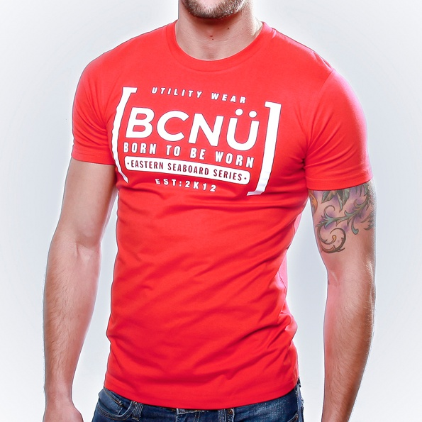 Afini-TEE Red  Born To Be Worn this 100% Cotton UtiliTEE is bold and a real standout. Loose fitting, not tight and extra comfortable. Dress it up, dress it down, wear it in, wear it out. www.bcnuclothing.com