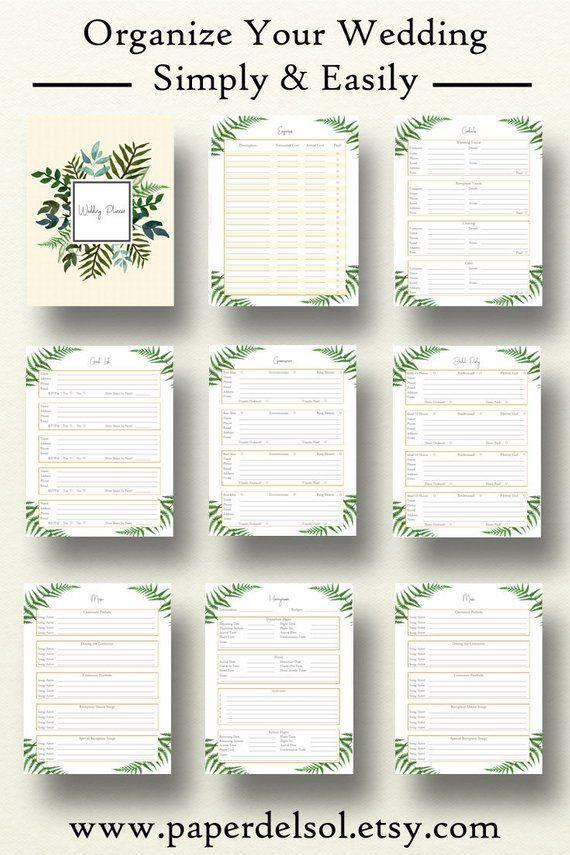 Wedding Planner Book Wedding Planner Printable Planning Etsy Wedding Planner Printables Wedding Planning Book Wedding Planner Book