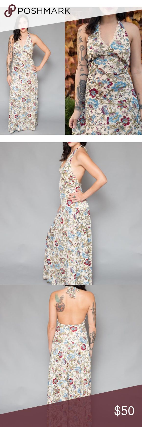 """Vintage 70s Halter Floral Maxi Dress Empire Waist This is a gorgeous, cream, floral, maxi dress circa 1970s.  Featuring a lace, detailed, halter neckline that zips up, this dress is light and airy and perfect for warm weather days.    Includes cropped jacket.    Best fits a modern size: M     • Bust: 14.5 inches across (has stretch)  • Waist: 12.5 inches across (stretches)  • Hip: Free  • Length: 56""""  •Label: Handmade (Tag reads; Specially handmade by Donna) Vintage Dresses Maxi"""