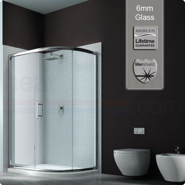 Merlyn Series 6 Sliding 1 Door Offset Quadrant Shower Enclosure, 900mm x 760mm, Low Profile Tray, 6mm Glass - Reference: MYS6PK014