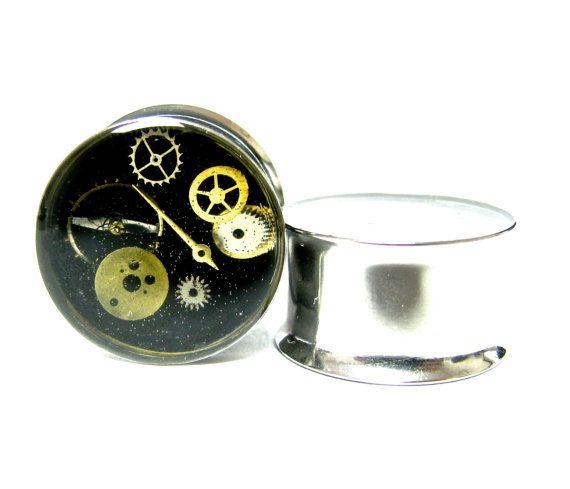 Steampunk Plugs Gauges 3/4  Surgical Steel by MizzMechanique, $30.00#Plugs #piercing #gauges #bodymodification #gears #gearplugs #altfashion #gauging #steampunk #gothic #rocker #metal #punk