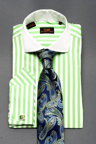 Dress Shirt by Steven Land Spread Collar French Cuffs Lime Green DS1072LM   eBay