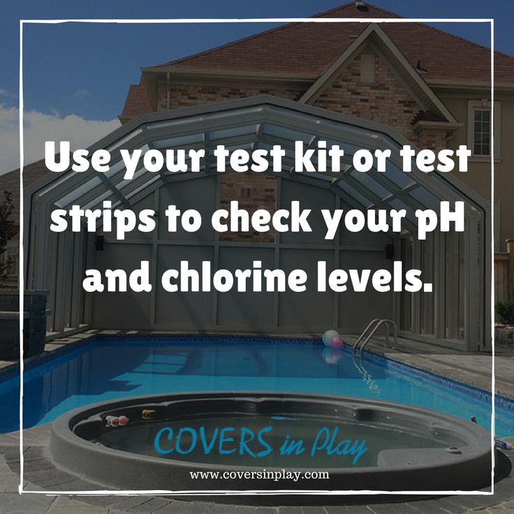 Test your water right away. Take a sample of your pool water by using a cup, holding it upside down, and putting it in the water elbow deep. http://www.coversinplay.com#PoolCover #PoolEnclosure #SwimmingPool #EndlessPool #GroundPool #PoolTips
