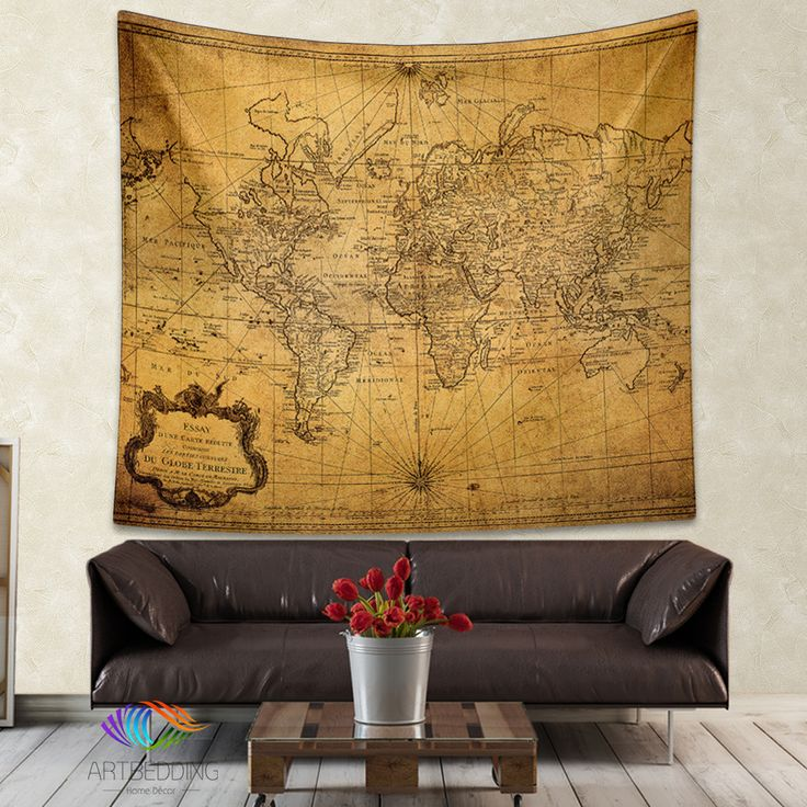 Vintage World Map Wall Tapestry Steampunk Ancient Hanging Decor Art Print