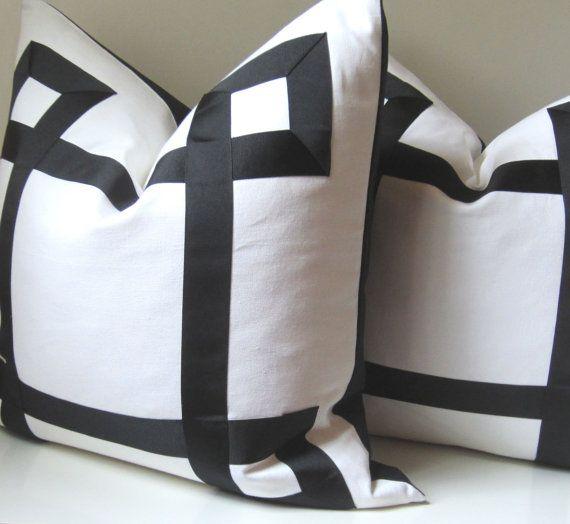 White Decorative Pillow Shams : BECKERT - RUSH ORDER - Custom Order - Set of Two - Black and White Pillow Covers - 25 inch ...