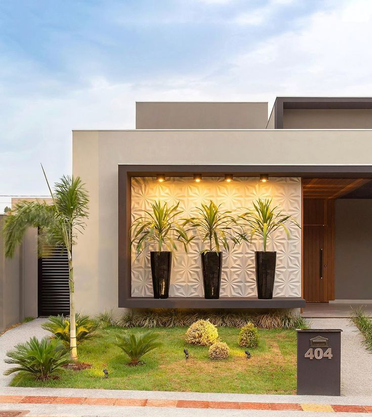 Discover recipes, home ideas, style inspiration and other ideas to try. Bungalow House Design, House Front Design, Small House Design, Exterior Wall Design, Door Design, Facade Design, Architecture Design, Best Modern House Design, Modern Backyard Design
