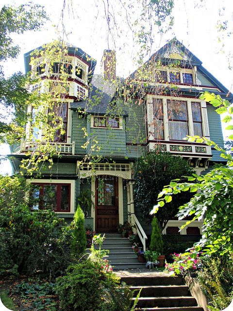Beautiful green Queen Anne Victorian house with turret by eg2006, via Flickr