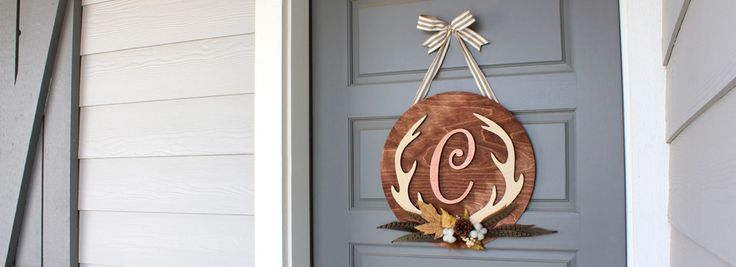 How To create a custom Fall antler monogram wreath with a Baltic Birch wood initial and an exclusive design from Craftcuts.com.