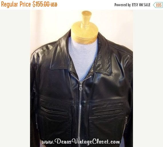 50% OFF CLEARANCE SALE Vintage Black Leather Motorcycle Police Jacket