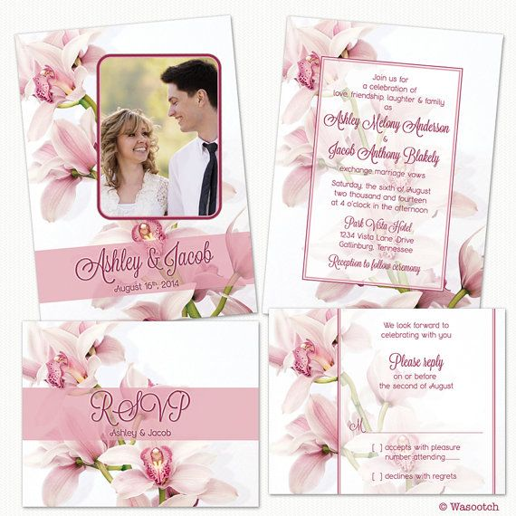 Pink Cymbidium Orchid Flower Photo Wedding Invitations and RSVP Reply Cards by wasootch, Prices starting at $115.00. Prices include shipping. Comes with envelopes for the invitation and the rsvp card. #weddings #weddinginvitations #weddinginvites #orchids