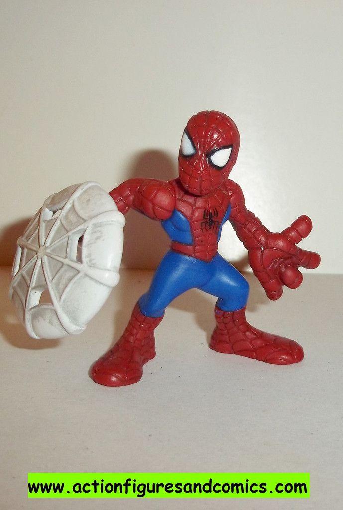 Marvel Super Hero Squad SPIDER-MAN complete web shield red flat blue pvc action figures