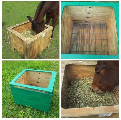 DIY slow hayfeeder, external ply and mesh. Insert mesh through side slot and horse cannot pull out, but restricts hay wastage. Great design!