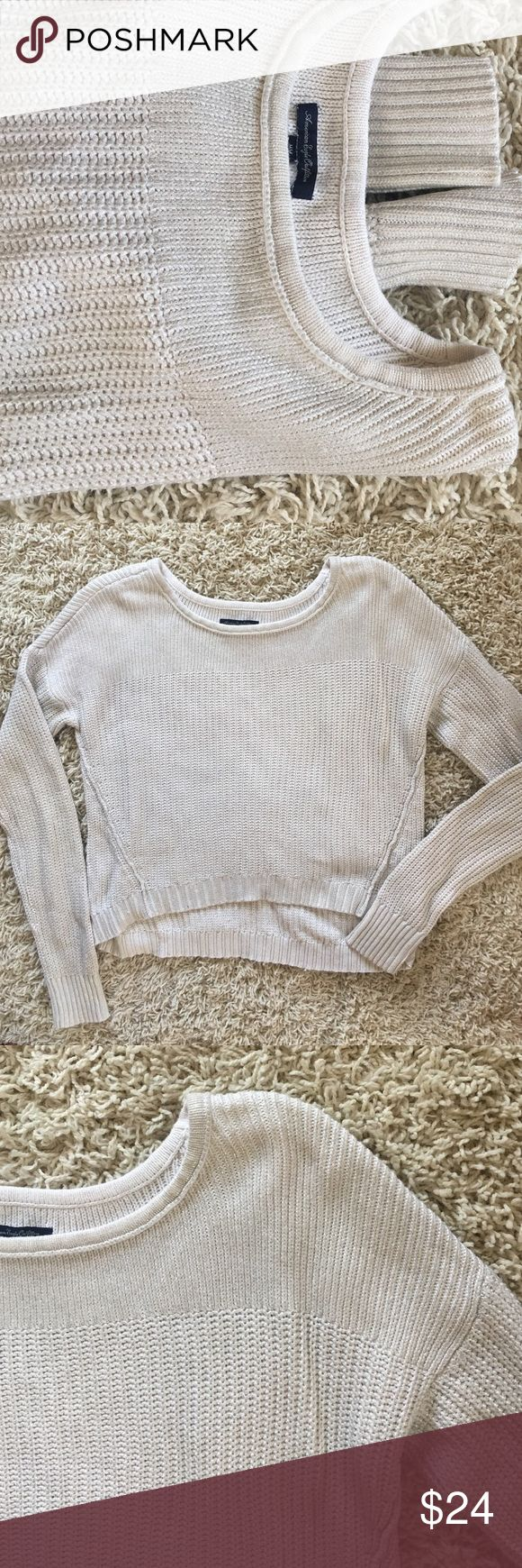 American Eagle Shimmer Crop Sweater Size M. Worn twice. Was a 36B at the time. Silver shimmer flecks in the fabric. Super cute for holiday parties coming up with a high waisted leather skirt and boots! ☺️ American Eagle Outfitters Jackets & Coats