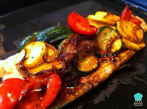 Receta de Trucha al horno con vegetales