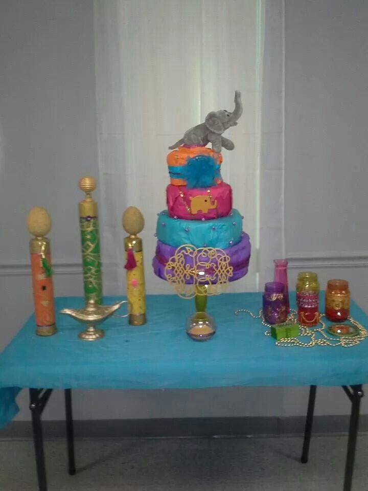 Diaper Cake And Hand Male Towers Out Of Pool Noodles, Hand Painted Mason  Jars For. Moroccan ThemePrincess Baby ShowersPainted ...