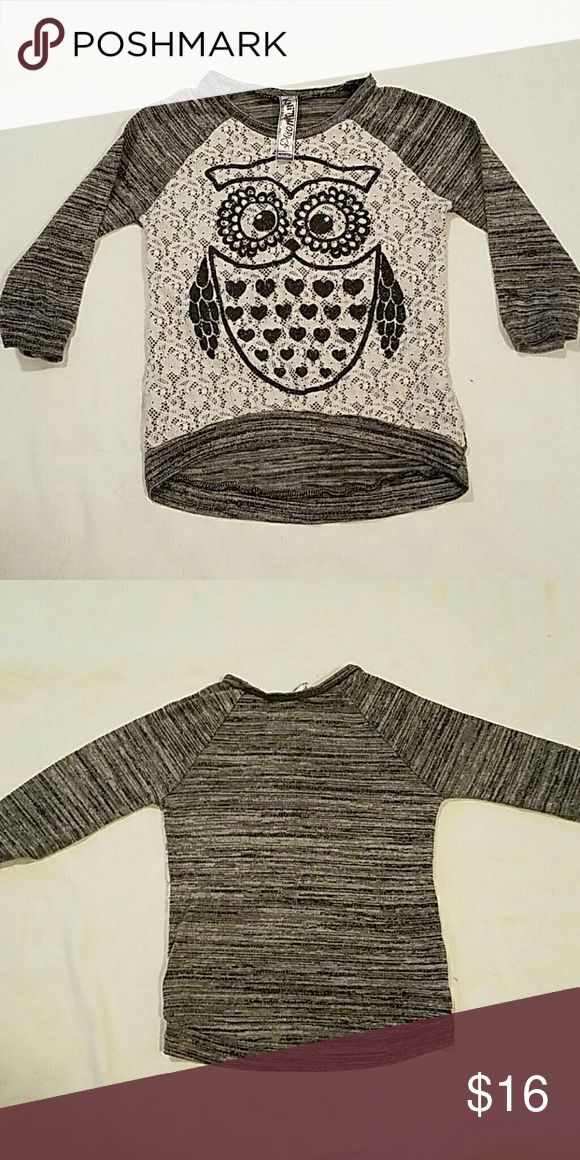 Girls cute grey and black 3/4 sleeve Owl shirt Super cute grey and black 3/4 sleeve Owl shirt. Lace design size 10/12 Knitworks Shirts & Tops