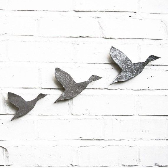 Wall art Flying ducks Set of three birds Flock by PrinceDesignUK, $75.00