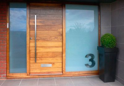 front door possibility - frosted glass for loo, clear glass for guest room