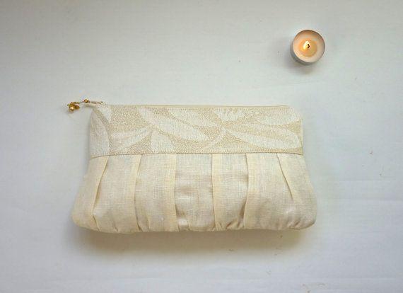 Gold wedding purse linen wedding clutch romantic by maplemist #bridesmaid #purse #bridesmaid #gift
