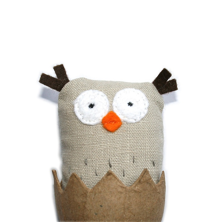Handmade Toy Owl, Tiny Plush Creature, Fabric Owl, Soft Toy Animal, Newly Hatched Poosac and Egg. £14.00, via Etsy.