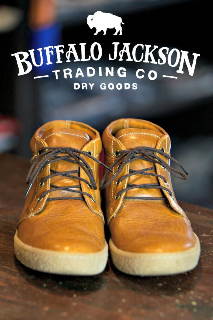 "Men's Bison Leather Chukka Boots: ""The Colorado"" by Buffalo Jackson Trading Co. 100% Authentic Bison Leather."