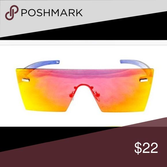 Sunglasses Stand out from the crowd in these large shield sunglasses featuring an overall rimless design. Complete with a rimless frame, these futuristic sunglasses will take your look to the next level. Accessories Glasses