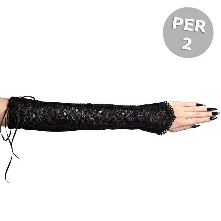 Sinister Elicia lange fluwelen handschoenen met kanten inleg en lint d